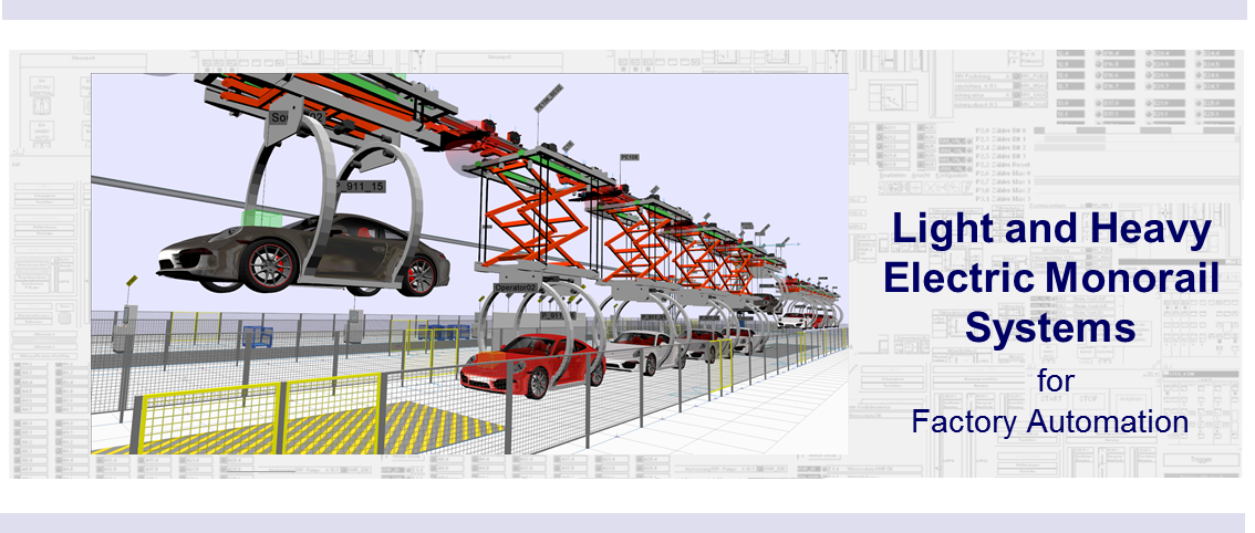 The WinMOD-SIMLINE Library for Electric Monorail Systems (EMS) contains all necessary elements to create and constructive accurate WinMOD-SIMLINE Layout for a given real track layout.